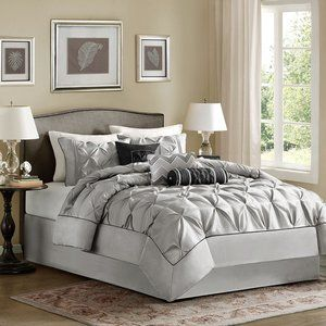 Madison Park Laurel 7 piece Comforter Set - Grey